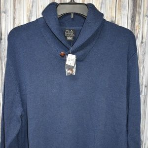 Jos A Bank Shawl Collar Sweater Navy Blue New Mens